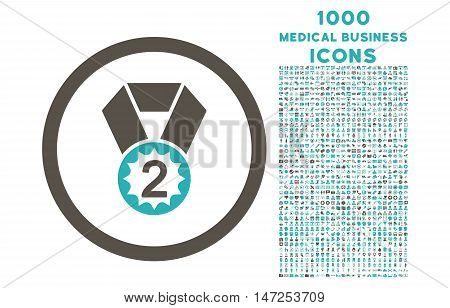 Second Place rounded vector bicolor icon with 1000 medical business icons. Set style is flat pictograms, grey and cyan colors, white background.