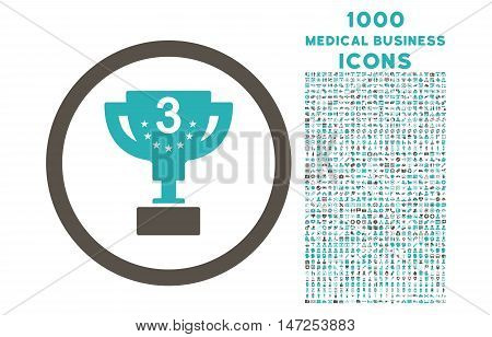 Third Prize rounded vector bicolor icon with 1000 medical business icons. Set style is flat pictograms, grey and cyan colors, white background.