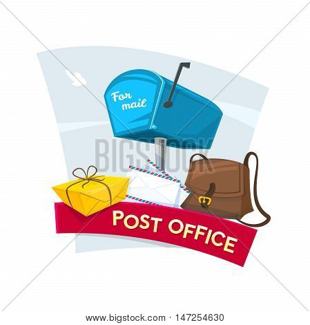 Post office concept design, vector illustration with mailbox, letters, bag of postman and package