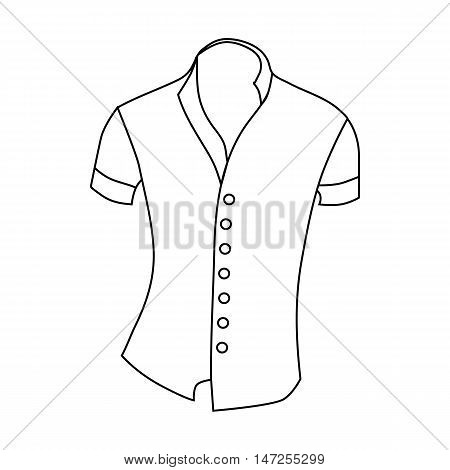 Woman blouse, short sleeve icon in outline style isolated on white background vector illustration