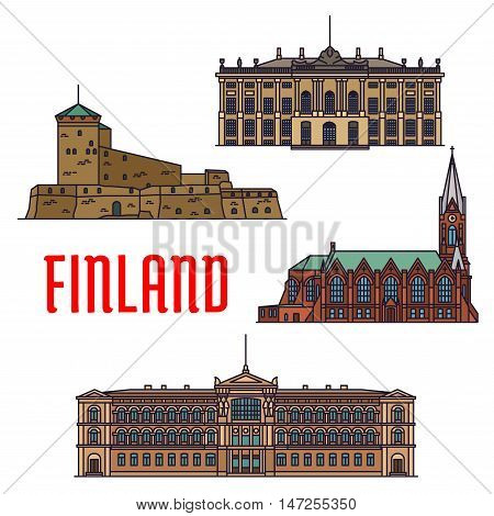 Historic architecture landmarks of Finland. Detailed icons of Suomenlinna, Sveaborg, Kotkan Church, Ateneum Museum, Amalienborg Palace. Finnish showplaces and sightseeing symbols for souvenirs, postcards