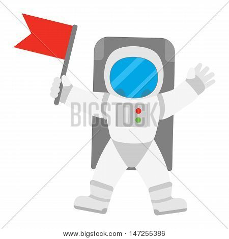 Spaceman astronaut in outer space holding red banner flag. Vector illustration isolated on white background.