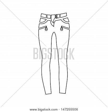 Classic women jeans icon in outline style isolated on white background vector illustration