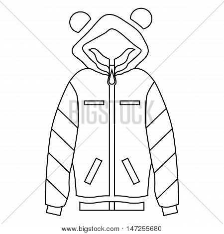 Woman hoodie icon in outline style isolated on white background vector illustration