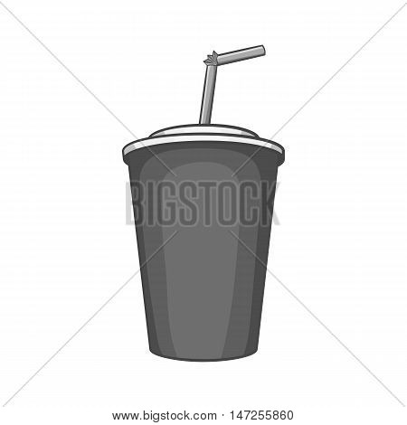 Paper cup with straw icon in black monochrome style isolated on white background. Drink symbol vector illustration