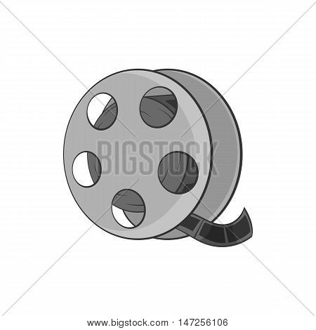 Tape with film icon in black monochrome style isolated on white background. Video symbol vector illustration