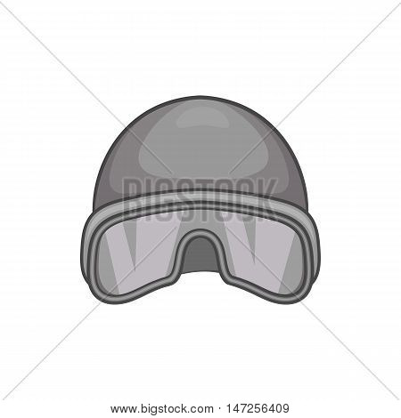 Hat and sunglasses tanker icon in black monochrome style isolated on white background. Head protection symbol vector illustration