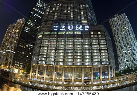 CHICAGO USA - JUNE 4 2016: The Trump International Hotel and Tower is located right on the banks of the Chicago River in downtown offering fantastic views for hotel guests and condominium residents.