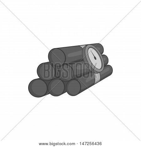 Dynamite icon in black monochrome style isolated on white background. Explosion symbol vector illustration
