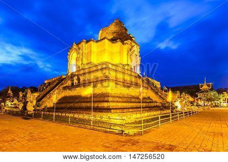 Wat Chedi Luang Temple at sunset Chiang Mai Thailand