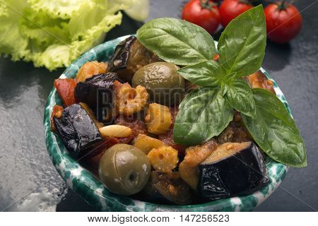 Bowl Of Caponata With Eggplant Tipical Sicilian Salad