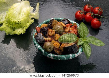 Bowl Of Caponata Sicilian Salad Made With Eggplant