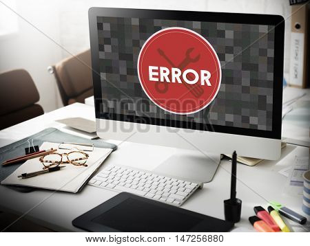 Error Something Went Wrong Under Construction Concept