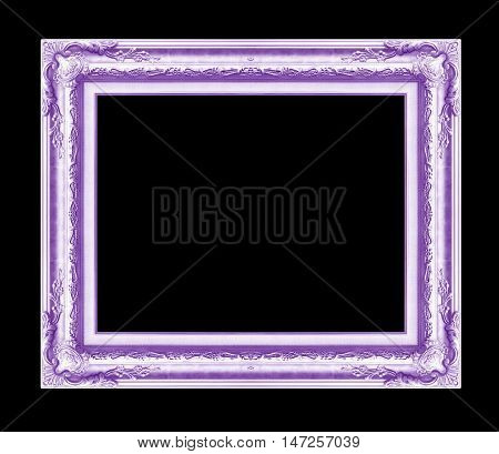 antique frame isolated on black background purple color
