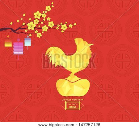Chinese new year 2017 lantern and blossom. Year of the rooster