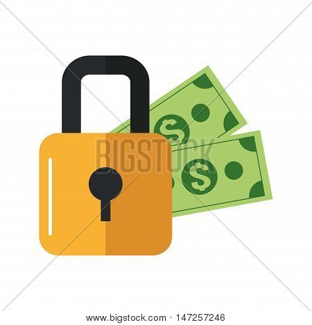 flat design safety lock and  dollar bills icon vector illustration