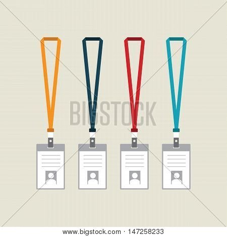 Badge identification card collection of identification label with lanyard flat design vector illustration