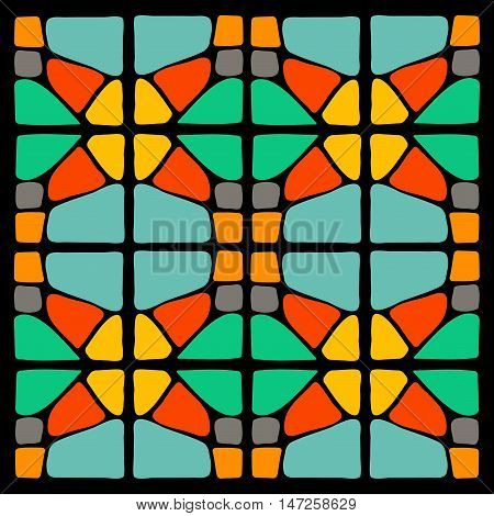 Colorful background. Mosaic square ornament on black background. Design element for textile, ceramic tile, paper napkin. Ethnic ornament.
