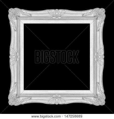 antique silver picture frame isolated on black background