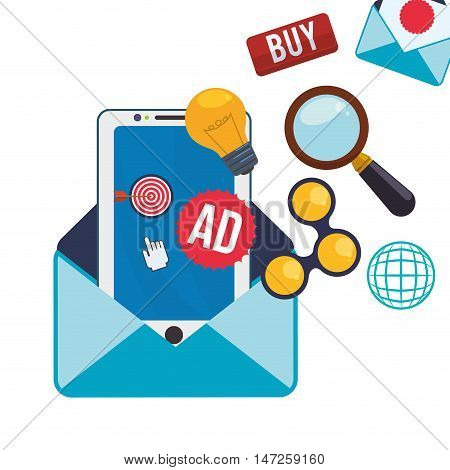 Smartphone bulb lupe share and envelope icon. Email marketing message communication and media theme. Colorful design. Vector illustration