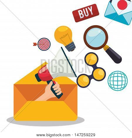 Megaphone bulb lupe share and envelope icon. Email marketing message communication and media theme. Colorful design. Vector illustration