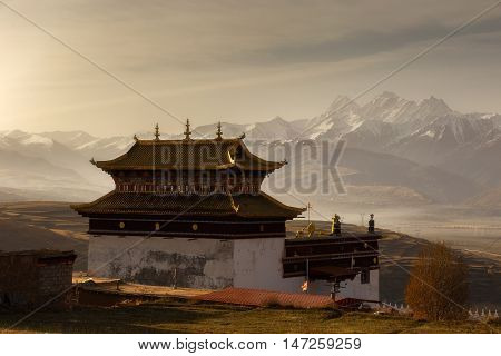 Silhouette image chinese temple or tibet style and landmarks public place in Ganzi Sichuan China