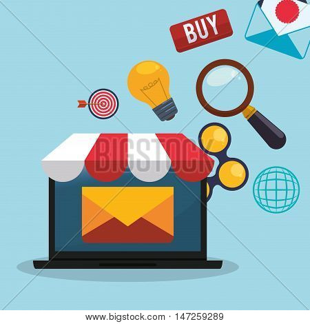 Laptop lupe bulb share and envelope icon. Email marketing message communication and media theme. Colorful design. Vector illustration