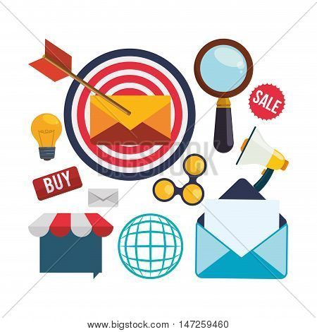 envelope target bulb megaphone and lupe icon. Email marketing message communication and media theme. Colorful design. Vector illustration