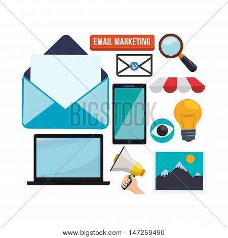 Smartphone laptop lupe bulb megaphone and envelope icon. Email marketing message communication and media theme. Colorful design. Vector illustration