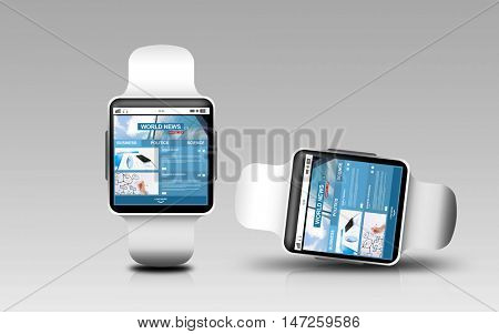 modern technology, object, responsive design and mass media concept - smart watches with world news web page on screen over gray background