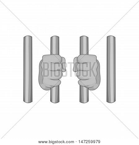 Man behind bars in prison icon in black monochrome style isolated on white background. Punishment symbol vector illustration