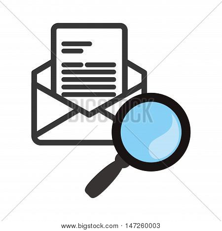 lupe or magnifying glass and envelope icon. search online and media theme. Isolated design. Vector illustration