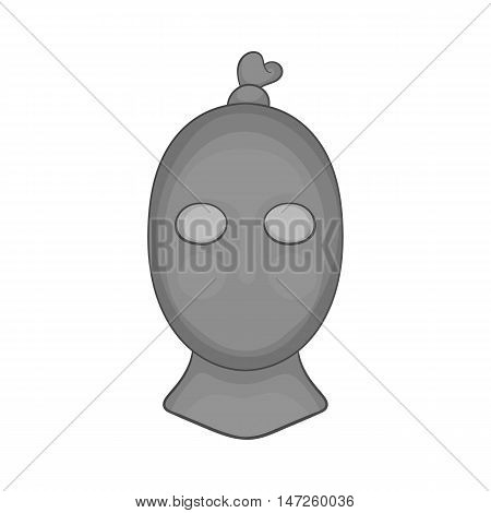 Man thief in mask icon in black monochrome style isolated on white background. Robber symbol vector illustration