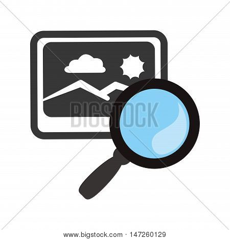 lupe or magnifying glass and picture icon. search online and media theme. Isolated design. Vector illustration