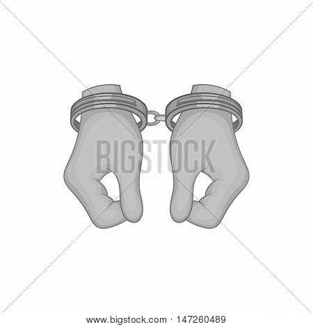Hands in handcuffs icon in black monochrome style isolated on white background. Capture symbol vector illustration