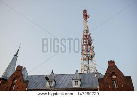 Telecommunication Mast Tv Antennas With Blue Sky