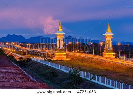 Third Thai-Lao Friendship Bridge at twilight time Nakhon Phanom Province Thailand