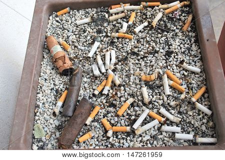 Cigars and cigarette butts in a large tray outside.