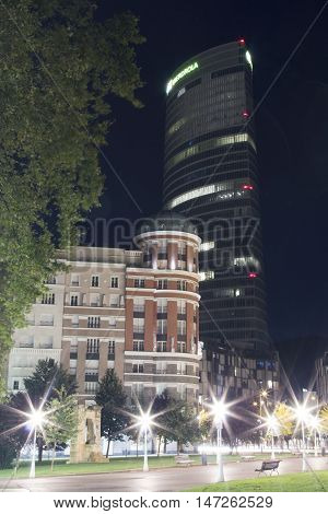 Bilbao Spain - September 15 2016: Iberdrola tower at night. Headquarters of the electric company Iberdrola. It's the highest building on the Basque country Spain.