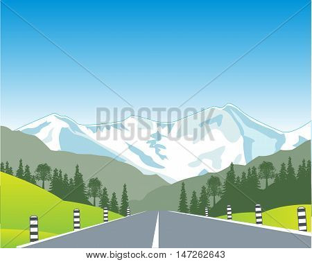 The Car road in mountain terrain.Vector illustration