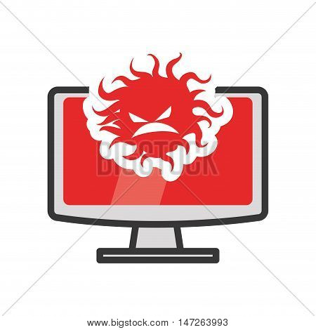 Computer gadget with bug icon. Technology device and media theme. Isolated design. Vector illustration