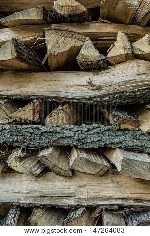 Background or texture - Stack of firewood