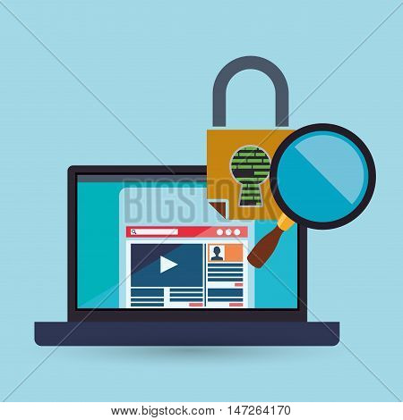 Laptop padlock and lupe icon set. Cyber security system and media theme. Colorful design. Vector illustration