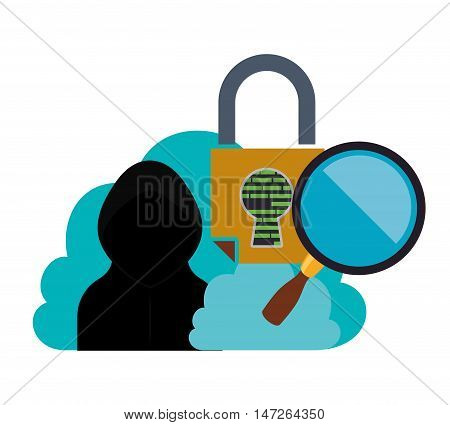 Cloud hacker lupe and padlock Cyber security system and media theme. Colorful design. Vector illustration