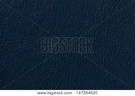 Navy blue leather texture background with pattern closeup.