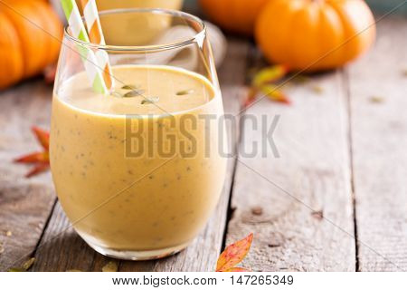 Pumpkin smoothie with oatmeal and chia seeds for breakfast