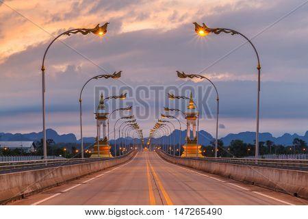 Third Thai-Lao Friendship Bridge at sunset time Nakhon Phanom Province Thailand