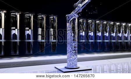 The image of a chemical test tube 3D illustration