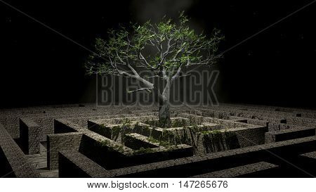 The tree image in a labyrinth at night 3D illustration