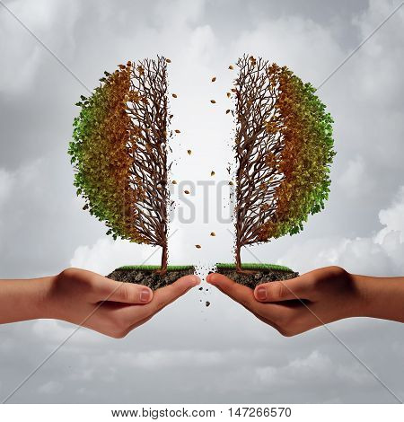 Broken and divided trouble concept as two diverse hands tearing apart a tree resulting in damage and weakness as a business metaphor for harmful disagreement and disunity with 3D illustration elements.